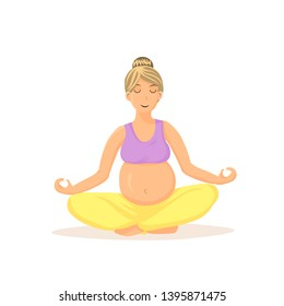 Pregnant Woman Meditating Cartoon Illustration. Female Flat Vector Character Sitting in Lotus Pose. Young Calm Lady Relaxing, Practising Yoga. Peaceful Future Mom Doing Prenatal Exercises