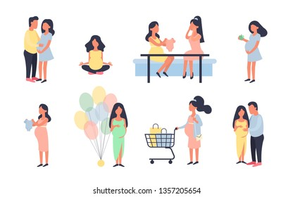 Pregnant woman. Pregnancy vector illustration set. Walking, healthy nutrition during pregnancy, purchase, baby shower and other situations. Character vector design. Daily activities, shopping.