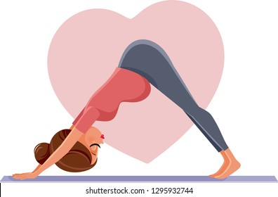 Pregnant Woman in Prenatal Yoga Pose. Expecting girl exercising on Pilates mat in anticipation of her baby