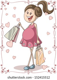 Pregnant Woman with Shopping Bags - Vector hand-drawn cartoon illustration of a pregnant young woman with shopping bags. Cute character with swirl page borders perfect for cards or invitations.