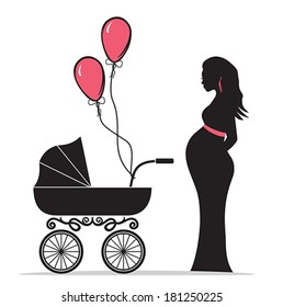 Pregnant woman silhouette with baby carriage