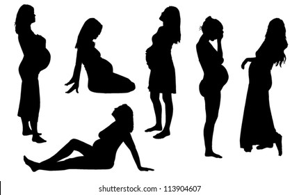 Pregnant Woman Silhouette on white background