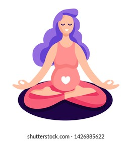 Pregnant woman sitting in lotus meditation, with mudra hands. Yoga vector flat illustration