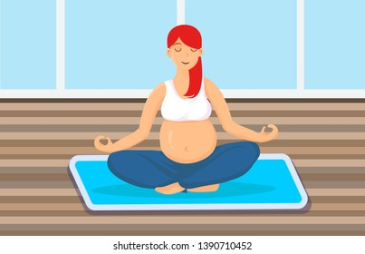 Pregnant Woman Sitting in Lotus Pose Illustration. Young Girl Concentrating, Doing Yoga. Breathing Meditation Technique. Female Vector Cartoon Character Relaxing, Resting. Red Hair Lady Exercising