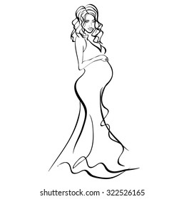Pregnant woman, sketch, vector on a white background
