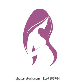 pregnant woman stylized vector silhouette