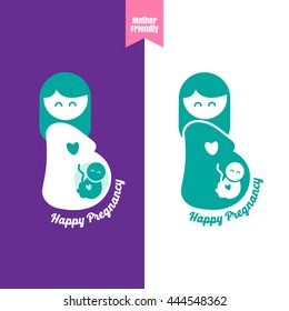pregnant woman, stylized vector symbol