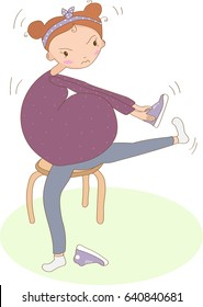 A pregnant woman tries to bend over to put on shoes, but her very big belly hinders her and she gets angry, cartoon card