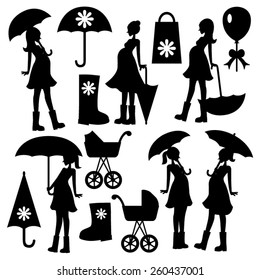 Pregnant woman with umbrella. Silhouette vector.