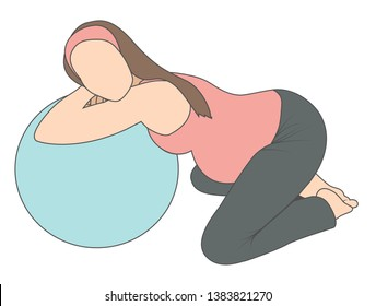 Pregnant woman using labor support peanut ball - lying