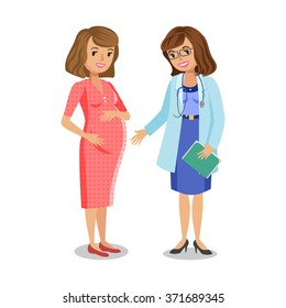 Pregnant woman visiting doctor in clinic, expectant mother with physician.