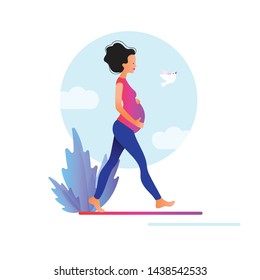 Pregnant woman walking. Active well fitted pregnant female character. Happy pregnancy. Yoga and sport for pregnant. Flat cartoon vector illustration