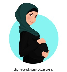 Pregnant woman wearing hijab. Muslim. Traditional clothes. Vector illustration.