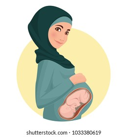 Pregnant woman wearing hijab. Muslim. Traditional clothes. Embryo in the abdomen. Vector illustration.