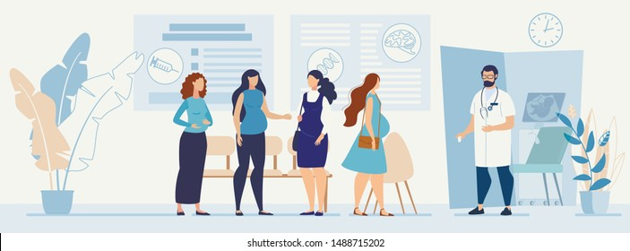 Pregnant Women Queue to Doctor Office. Cartoon Ladies Characters Talking Wait for Turn. Specialist for Pregnancy Maintaining and Healthcare. Hospital Hallway Interior. Vector Flat Illustration