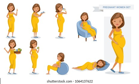 Pregnant women set. many views of pregnant. smile happy, hold baby shoes, drink milk from a glass, sit on a sofa, Holds vegetable tray, eating, exercise and sleeping, Vector illustrations isolated.