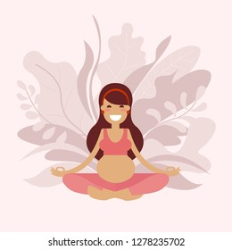 A pregnant young long-haired yoga girl is meditating in an Sukhasana easy pose