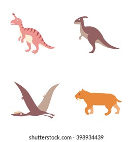 Prehistoric animals vector icons