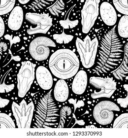 Prehistoric graphic collection of dinosaur body parts, fossils and plants. Vector seamless pattern drawn in engraving technique. Coloring book page design.