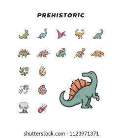 Prehistoric icon outline color. isolated on white background