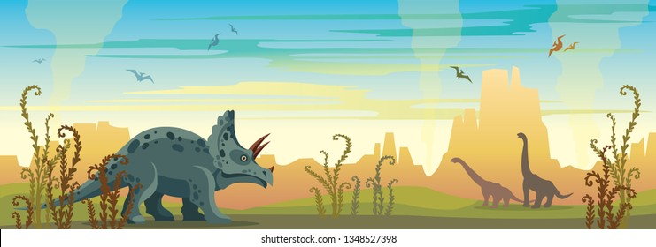 Prehistoric illustration with extinct animals and plants. Vector nature landscape with triceratops, diplodocus and pterodactyls. Wild nature with dinosaurs and mountains on a blue sky.
