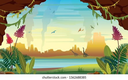 Prehistoric illustration with extinct animals and plants. Vector nature landscape with diplodocus and pterodactyls. Wild nature with ferns, lake, cave, silhouette of dinosaurus and mountains on a blue