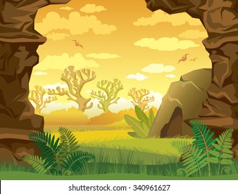 Prehistoric illustration with green grass, cave and walls of rock on a yellow cloudy sky. Nature vector landscape.