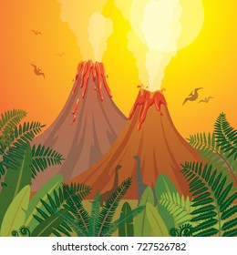 Prehistoric landscape with two smoking volcanoes, green ferns and silhouette of dinosaurs on a sunset sky. Nature vector illustration with extinct creatures.