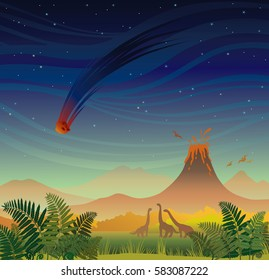 Prehistoric landscape - volcano with lava, falling red meteorite, dinosaurs and fern. Vector illustration with night sky and wild nature.
