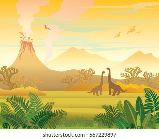Prehistoric landscape - volcano with smoke, mountains, dinosaurs and fern. Vector natural illustration.