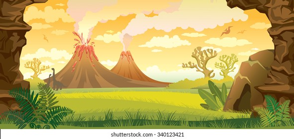 Prehistoric landscape - volcanoes with smoke, green grass, cave and walls of rock. Vector nature illustration.
