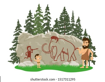 A prehistoric man draws a mammoth hunt scene on a skad. Vector stock illustration, flat composition. Isolated on a white background.