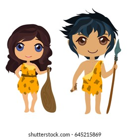 Prehistoric man and woman in cartoon style.