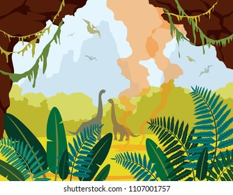 Prehistoric nature. Cartoon landscape with green plants, cave, silhouette of dinosaurs and active geyser. Vector illustration with extinct animals.