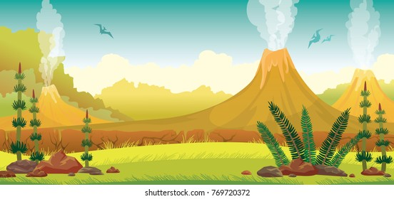 Prehistoric nature - extinct green plants, yellow grass, active smoking volcanoes and silhouette of pterodactyls on a blue sky. Vector illustration.