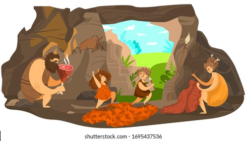 Prehistoric people family, happy primitive children playing, stone age parents live in cave, vector illustration. Caveman cartoon character, happy boy and girl running, cave drawing, shelter dwelling