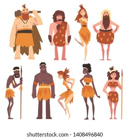 Prehistoric People Set, Primitive Stone Age Men and Women in Animal Pelts Cartoon Character Vector Illustration