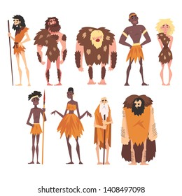 Prehistoric People Set, Primitive Stone Age, Native Men and Women in Animal Pelts Cartoon Character Vector Illustration