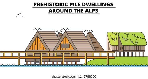 Prehistoric Pile Dwellings - Around The Alps  line travel landmark, skyline, vector design. Prehistoric Pile Dwellings - Around The Alps  linear illustration.