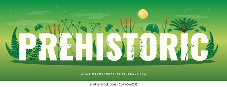 Prehistoric plants horizontal composition with text and images of ancient nature flora with green shades background vector illustration