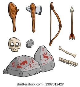 Prehistoric primitive cave man tool kit for hunting. Wooden stick baton, stone axe, bone and spine of the animal, skull, bow and arrow, sacrificial stone with painting. Hand drawn illustration.