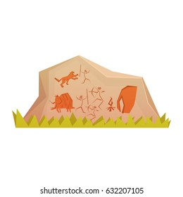 Prehistoric rock engravings, colorful vector illustration isolated