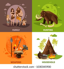 Prehistoric stone age 2x2 design concept with caveman family hunting weapons and household square icons cartoon vector illustration