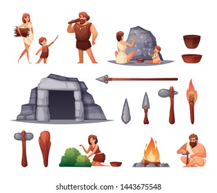 Prehistoric stone age caveman family home rock paintings open fire weapon tools flat set isolated vector illustration
