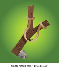 Prehistoric stone age isolated vector game icon with weapon tool. Primitive fantasy or tribal indian object for warriors. Detailed hunting or battle sling art.