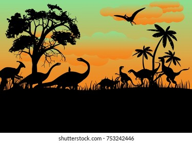 Prehistoric vector landscape with dinosaurs silhouettes