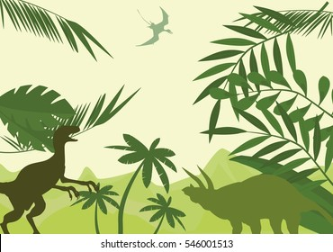 Prehistoric world dinosaurs age, dinosaurs vector silhouettes