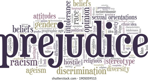 Prejudice vector illustration word cloud isolated on a white background.