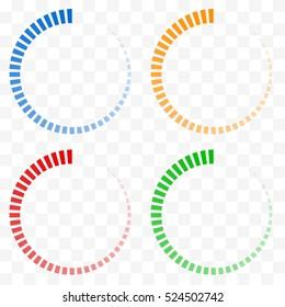 Preloader, buffer shapes symbols. Fading transparent circles