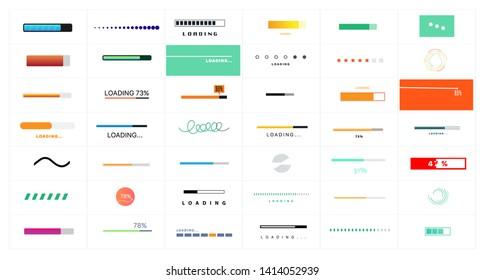 Preloaders and progress bar. Web preloader. Buffer progress bar. Set of loading elements. Collection of modern loading bars and buffering icon set isolated on white background. Vector set preloaders